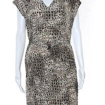 Nwt Gerard Darel Brown Animal Print v Neck Cap Sleeve Dress Eur Sz 38 390 Photo