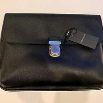 Nwt Giorgio Armani Black Label Document Holder/laptop Case Black Leather 1395 Photo
