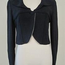 Nwt Giorgio Armani Midnight Blue Silk Cropped Blazer Jacket 2295 - Size 40 / 6 Photo