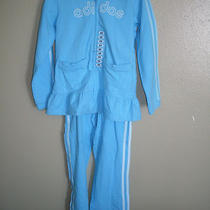 Nwt Girl's Adidas Track / Jogging Suit 2 Piece Set With Bottom Ruffle Photo