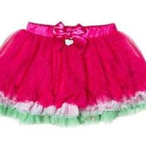 Nwt Girl's Hello Kitty Pink White Green Tutu Tier Ruffle Birthday Skirt Gift 6 Photo