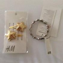 Nwt Girl's Sz 3y &up 2 Gold Fabric Hair Clipselastane Metal Bracelet by h&m Photo