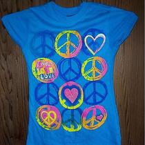 Nwt Girl's Sz M Youth Peace Love Heart Neon Rainbow Graphic Slim Fit T-Shirt Photo