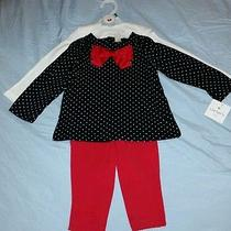 Nwt Girls 24m Carter's 3pc Outfit Set Layette White Red Black Photo