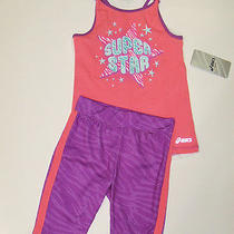 Nwt Girls Asics Tank Top Shirt Cropped Leggings Outfit Set Clothes 6 New Photo