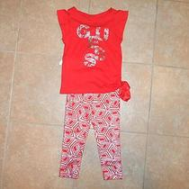 Nwt Girls Guess Outfit Set  Pants Top Sz 3 Toddler Orange Silver Retro Re 42.50 Photo