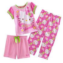 Nwt Girls  Hello Kitty  Pajamas    3pc Set   New  Always Sweet  4t  30 Photo