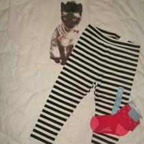 Nwt Girls Lot 2 2t Baby Gap Black  White Cat Top Striped Leggings Outfit Set New Photo