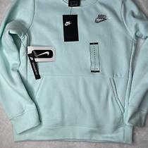 Nwt Girls Nike Sweatshirt Pullover Mint Green Large Pocket Cz4628-336 Photo