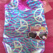Nwt Girls Purple Aqua Peace Sign Swimsuit Tankini Set 4 5  Disney Sunglasses Photo