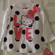 Nwt Girls Size 12-18 Mos. Hello Kitty Shirt Top White Pink & Black Polka Dot Photo