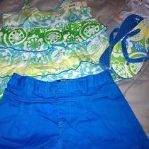 Nwt Girls Size 7 3 Piece Shorts Set Tank Top Shorts & Flip Flops Aqua Sea Photo