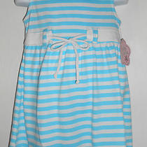 Nwt Girls Sz 4/5 Sleeveless Tank Top Dress Aqua and White Stripes Withtie Waist  Photo