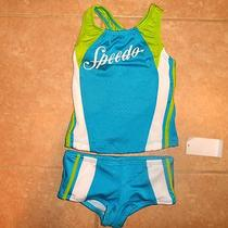 Nwt Girls Sz 4 Speedo Tankini Two Piece Swimsuit Retail 40 Swim Suit Aqua Lime Photo