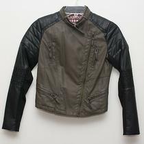 Nwt Gorgeous Blank Nyc Girls Faux Leather Moto Jacket L 10-12 Grn / Black 98 Photo