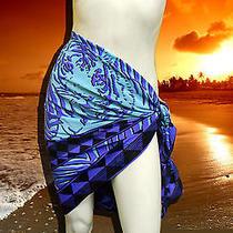 Nwt Gottex 100% Silk Cobalt Blue Tiger Sarong Wrap Pareo Cover Up O/s Photo