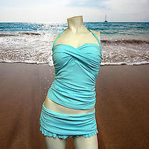 Nwt Gottex Blue Halter Tankini Bathing Suit Swimsuit Set Top-10 Bottom-8 Photo