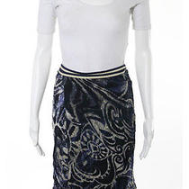 Nwt Gottex Blue White Abstract Sheer Side Tie Wrap Skirt Sz L  158 Photo