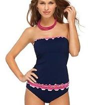 Nwt Gottex Navy Pink White Tricolore Bandeau Tankini Top Removeable Straps Sz 14 Photo