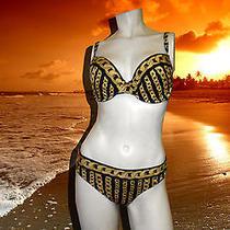 Nwt Gottex Pandoras Box  Gold Chains 2 Pc Black Bikini Swimsuit Set Sz - 8 E Cup Photo