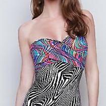 Nwt Gottex Rainbow Zebra Bandeau Tummy Control Swimsuit One-Piece 8  Sfs Photo