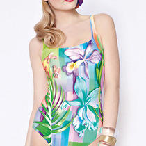 Nwt Gottex Sz6 Water Flower Bandeau One Piece Swimsuit in Multicolor  Photo