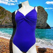 Nwt Gottex Tropical Paint Solid Blue 1 Pc Lingerie Strap Swimsuit Sz - 14 Photo