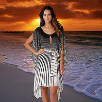Nwt Gottex Vasarelli Caftan Black & White Silk Bathing Suit Cover Up Sz - L Photo