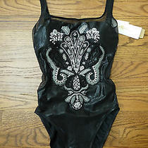 Nwt Gottex Womens One-Piece Swimsuit Beaded See-Through in Black & White Sz 8 Photo