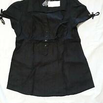 Nwt Grace Elements Black Linen Short Sleeve Blouse Top Size 6 Photo