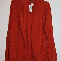 Nwt Grace Elements Vision Dark Manderin Ribbed Sweater Size Large Photo