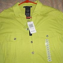 Nwt Grace Elements Womens Blouse Top Size Small in Lime Green Shade Photo