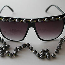 Nwt Grey Pearl Chain Aviator Sunglasses- Black Color - Super Trendy Photo