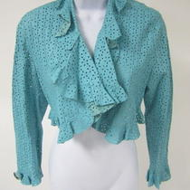Nwt Grownbeans Aqua Perforated Leather Ruffle Trim Crop Bolero Jacket Sz S 1900 Photo