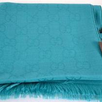 Nwt Gucci 165904 Teal Blue Green Silk Wool Gg Guccissima Logo Scarf Muffler Photo