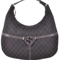 Nwt Gucci 257292 Brown Denim Canvas Interlocking Gg Guccissima Purse Bag Hobo Photo