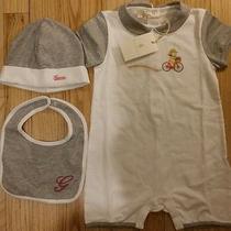 Nwt Gucci Baby Girl 3 Pc Gift Set Romper Hat Bib Bicycle Print Gray 12/18 18/24 Photo