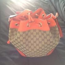 Nwt Gucci Original Gg Canvas Orange Leather Small Bucket Bag 381597   Photo