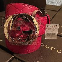 Nwt Gucci Red Belt Sz 40in/100cm Authentic Fits Waist 34-36 Photo