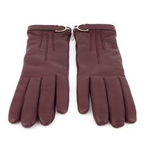 Nwt Gucci Woman's Burgundy Leather Gloves Size 7 Photo