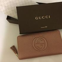 Nwt Gucci Women's Soho Blush/ Pink Leather Zip Around Big Wallet Photo