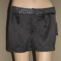 Nwt Guess 4 S M Jet Black Satin Pleated Sarah Tuxedo Dolphin Dress Shorty Shorts Photo