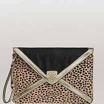 Nwt Guess 88 Ica Leo Pony Hair Clutch Purse Envelope Wristlet  Leopard Print Photo