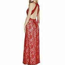 Nwt Guess Alina Sleeveless Black Lace Maxi Dress Sz Small Open Red New Photo