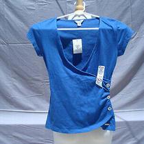 Nwt Guess Blue Cotton Short Sleeve Silver Color Buttons Women Top Blouse Sz Xs Photo