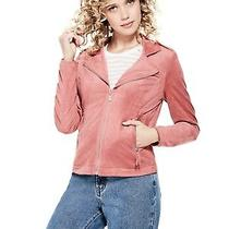 Nwt Guess Faux Suede Jacket Blazer Coat Pink-Xs 80 Photo