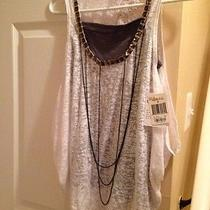 Nwt Guess Layered Tank Shirt Dark Gray White Size Small Photo