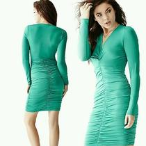 Nwt Guess Long Sleeved Knot Front Dress Xxs Teal Green Sexy Club v Neck Bebe Photo