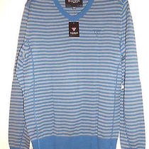 Nwt Guess Mens Ls Tufts Stripe Vneck Sweater Mountain Blue 100% Authentic-Md Photo