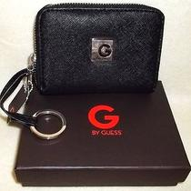 Nwt Guess Ronelle Small Black Wallet With Attached Key Ring and Gift Box Photo